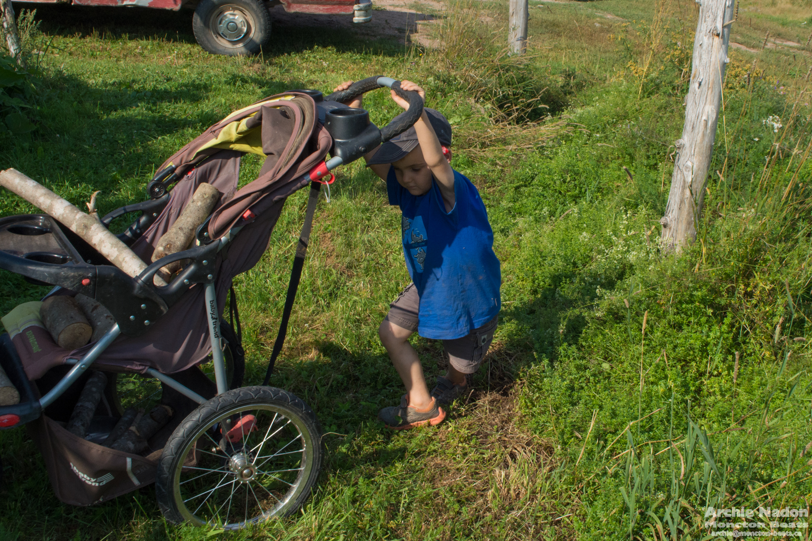 boy pushing stroller with firewood in it