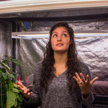 young woman in hydroponics tent with hands raised