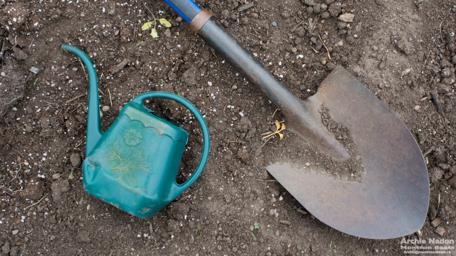 watering can and shovel on dirt background