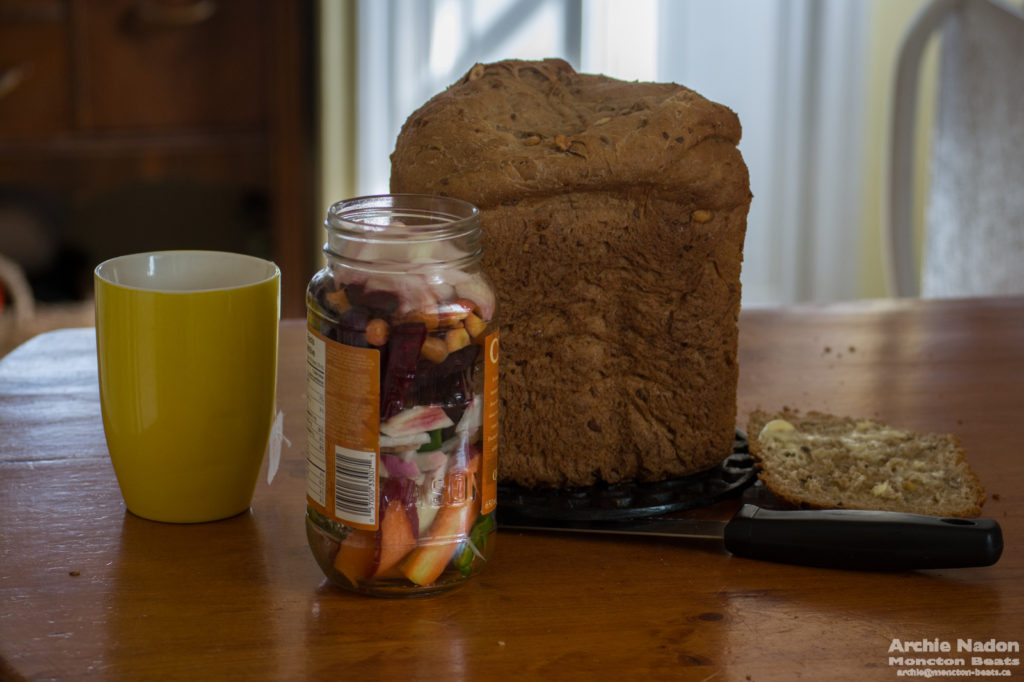 still life with pickles and bread