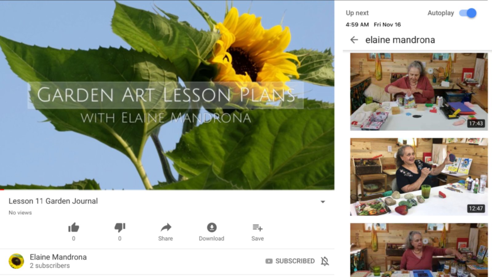 Screenshot of a YouTube channel